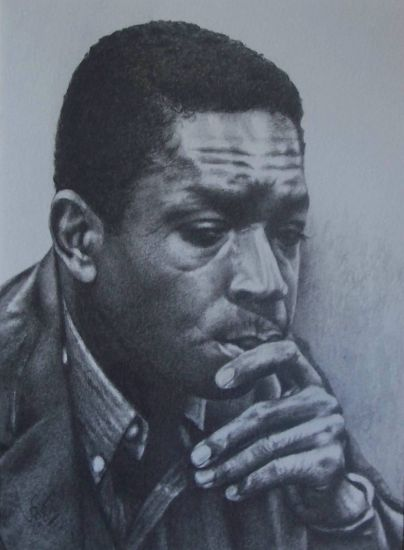Jazz-John Coltrane II Grafito Papel Retrato