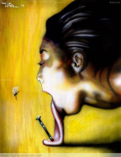 En Boca cerrada no entran moscas Panel Gouache Figure Painting