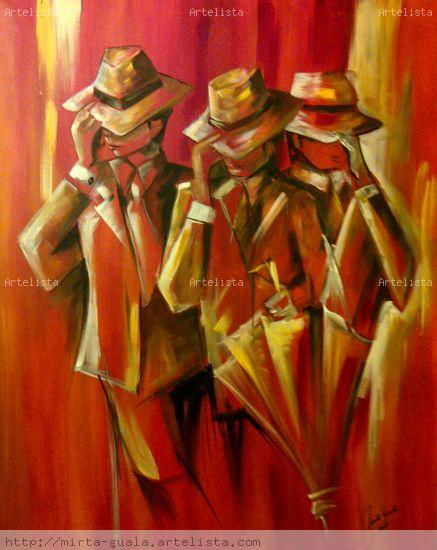 Compadritos Gouache Canvas Figure Painting