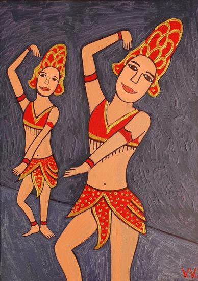 Bailarinas asiáticas Figura Acrílico Lienzo