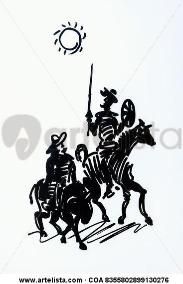 otros.Cuadro dibujo, Don Quijote y Sancho, cabalgando Serigrafía