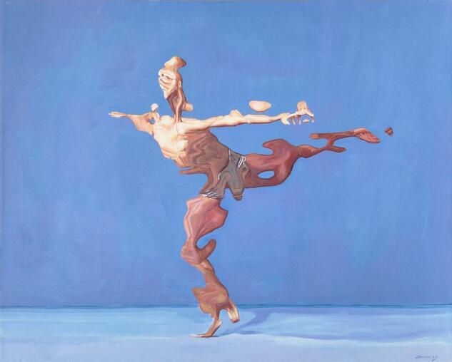 Hermes, cuatro paredes azules. Figura Acrílico Lienzo