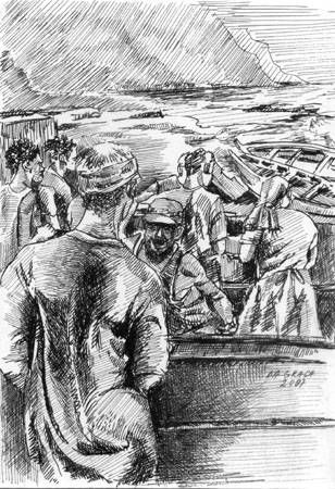 Momento de chegada dos botes Óleo Lienzo Paisaje