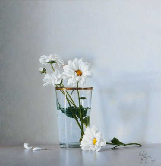 Margaritas en vaso con agua antonio v zquez bartolom - Vaso con agua ...
