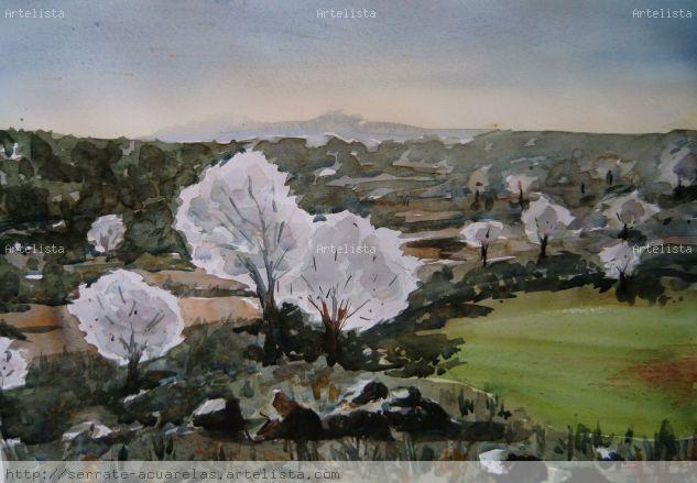 Primavera Acuarela Papel Paisaje