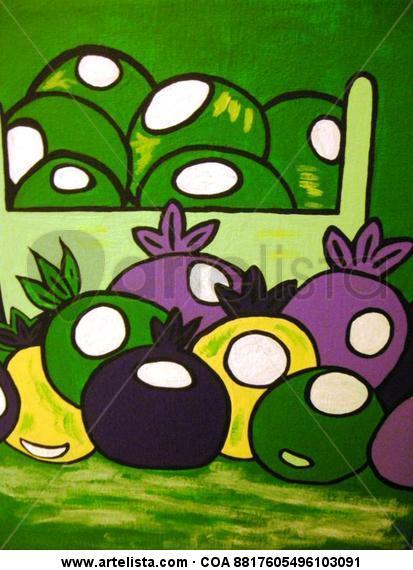 Frutas en verde Lienzo Acrílico Bodegones