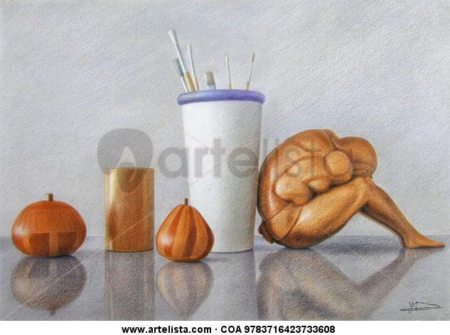 bodegón objetos de madera