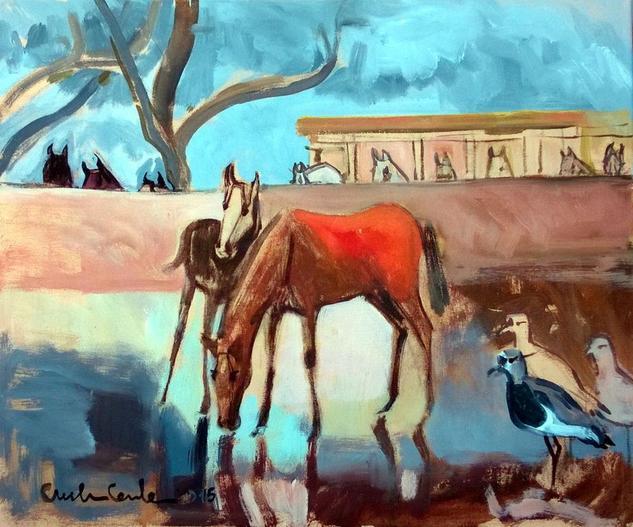 caballos y teros Lienzo Acrílico Animales