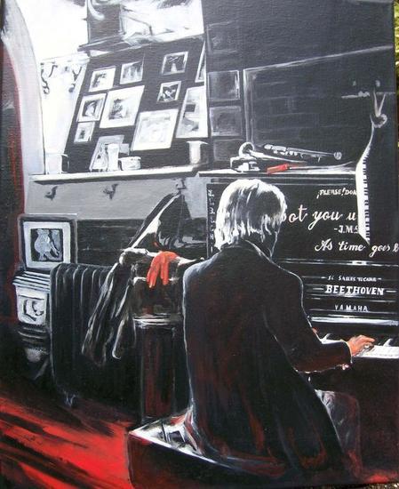 El Pianista Lienzo Óleo Figura