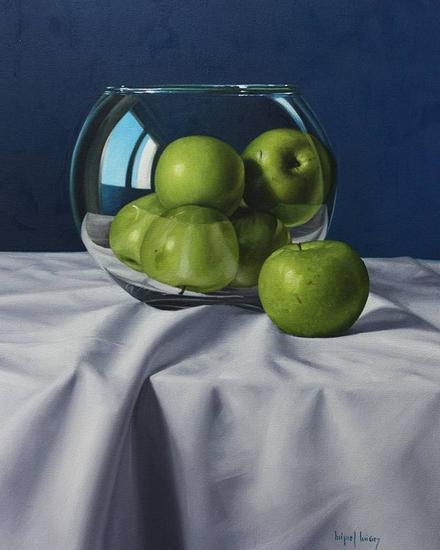 Manzanas verdes sobre fondo azul Lienzo Óleo Bodegones