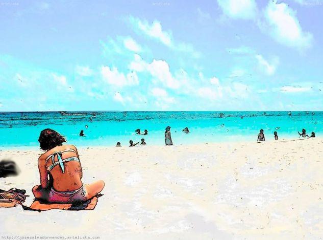 Playa caribena Blanco y Negro (Digital) Publicidad y moda