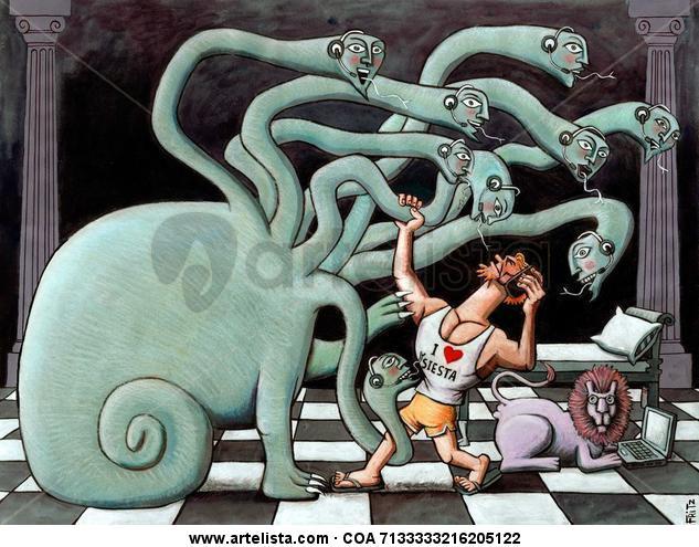 Hércules contra la Hidra del siglo XXI Papel Media Mixta Otros