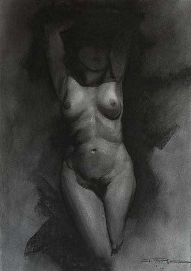 Desnudo en la sombra Carboncillo