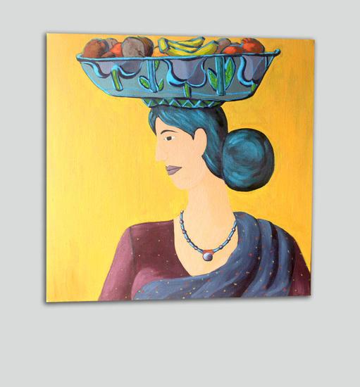 Fruit Seller Retrato Óleo Lienzo