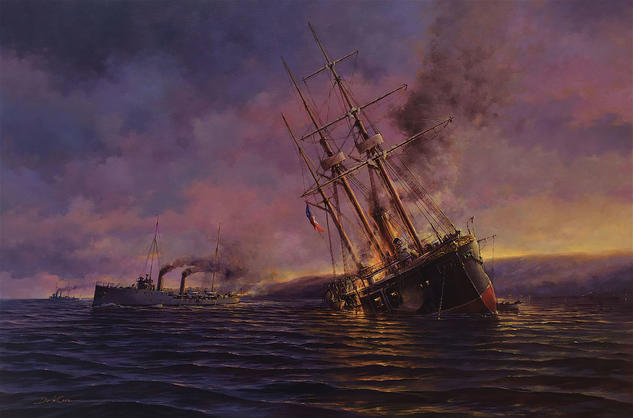 Combate Naval de Caldera 1891 Marine Painting Oil Textile