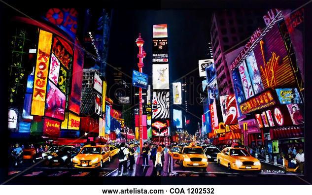 Show de luces en New York  Landscaping Oil Canvas