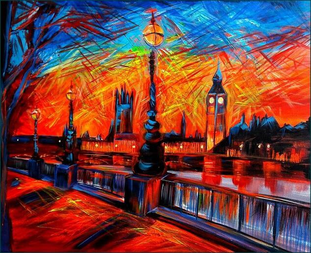 Good Evening London Paisaje Acrílico Lienzo