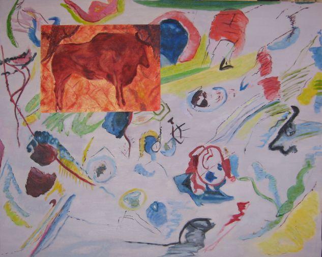 La abstracción de Kandinsky y el bisonte de Altamira Lienzo Óleo Otros