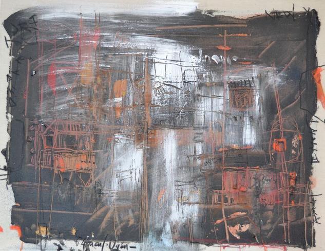 abstracto en negro Acrílico Otros Lienzo