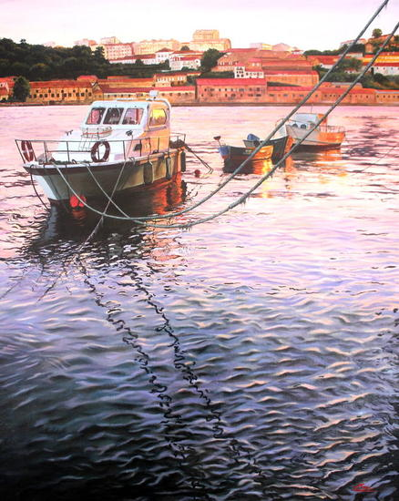 Barcas en Oporta (atardecer) Marina Óleo Otros