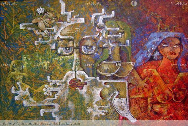 RECINOS A LA RECINOS Panel Acrylic Figure Painting