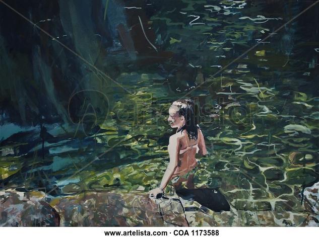 En el agua Landscaping Oil Canvas