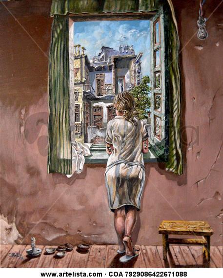La jóven en la ventana Retrato Lienzo Acrílico