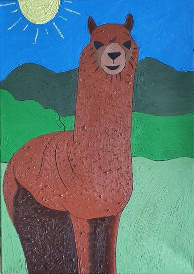 Llama Animales Óleo Lienzo