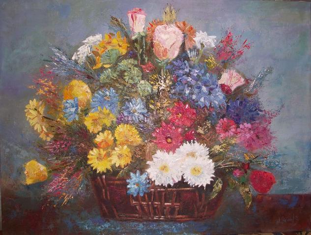 """""""Bodegón"""" Floral Óleo Tabla"""