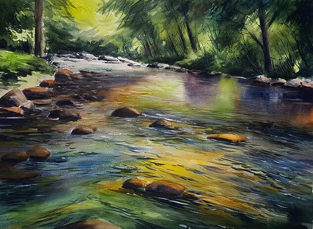 ambiente fluvial Paisaje Acuarela Papel