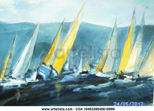 REGATA EN IBIZA Cristal Acuarela Marina