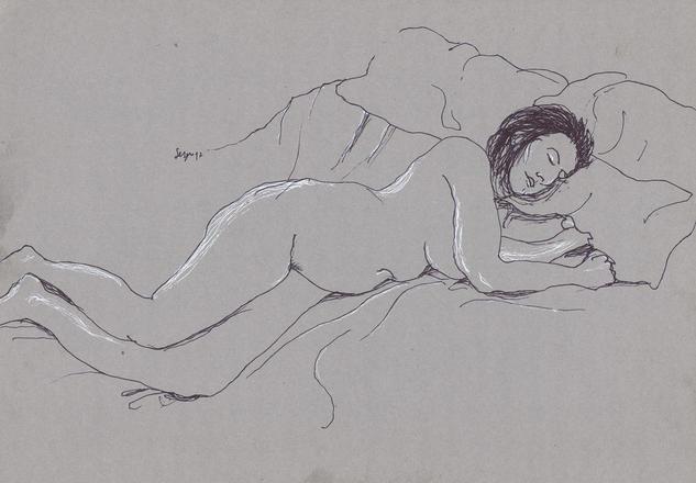 Mujer recostada en la cama 2 Tinta
