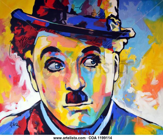 Chaplin Retrato Acrílico Tela