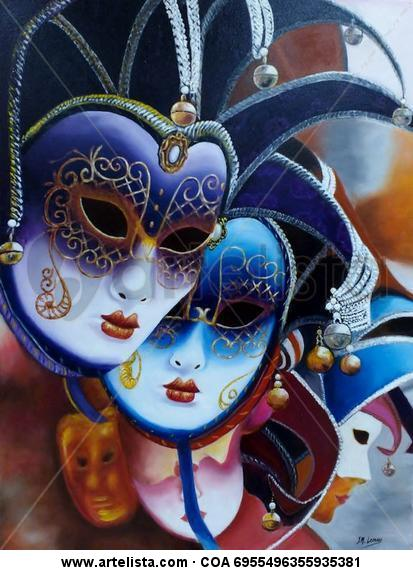 Mascaras del carnaval de Venecia Lienzo Óleo Figura