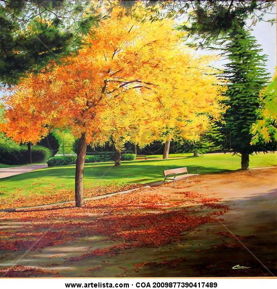 otoño en el parque de los almendros