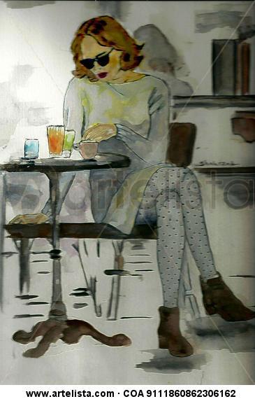 Coffee House, Watercolor By Shahrzad Ranji Otros Acuarela Figura