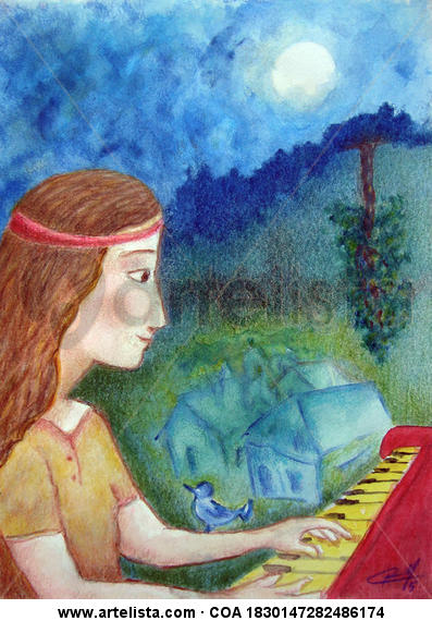 Niña y piano rojo Cartulina Media Mixta Figura
