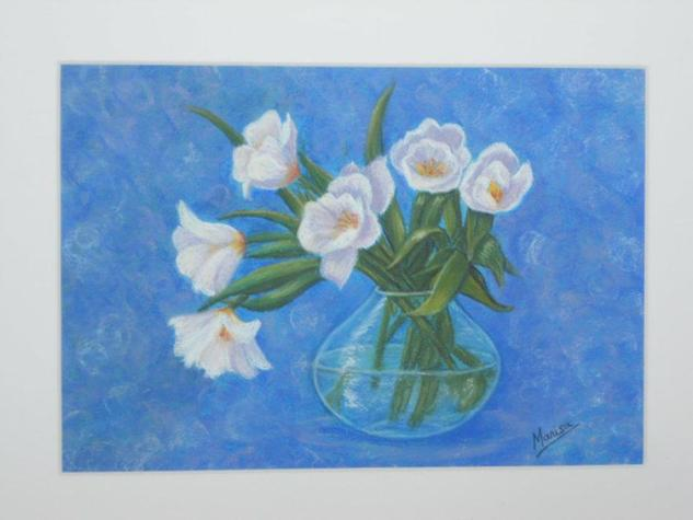 FLORES BLANCAS Floral Pastel Cartulina