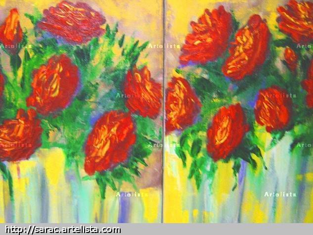 Rosas Óleo Lienzo Paisaje