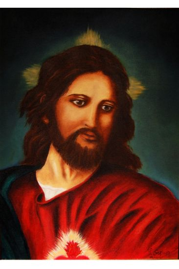corazón de Jesus Óleo Lienzo Paisaje
