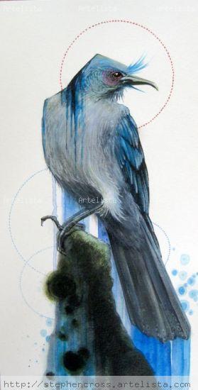 Blue bird Acrílico Papel Animales