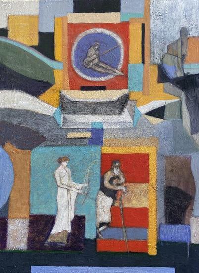 """TERTULIA"" Figure Painting Acrylic Canvas"