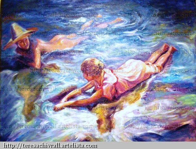 Juegos de playa Landscaping Oil Canvas