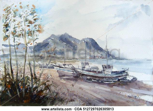 AQlmeria -Cabo de Gata Paisaje Acuarela Papel