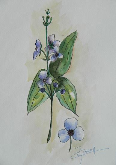 Lilas Papel Floral Acuarela