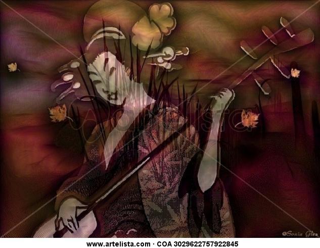Oriental 2014 El viento de otoño mueve la persiana de bambú y mi corazón.Espejo de rosas amarillas.El manantial dorado