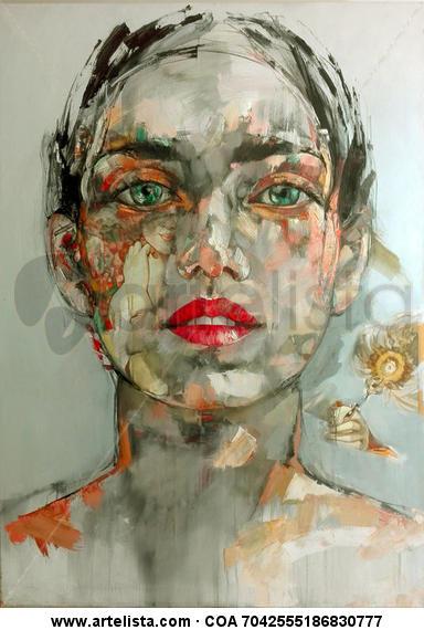 Retrato de Jennifer Connelly. Lienzo Óleo Retrato