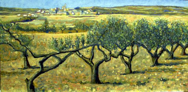 camino con olivos