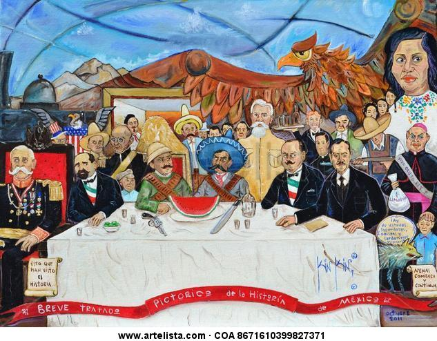 Breve Tratado Pictorico de la Historia de Mexico IV por Kinkin Canvas Oil Portrait