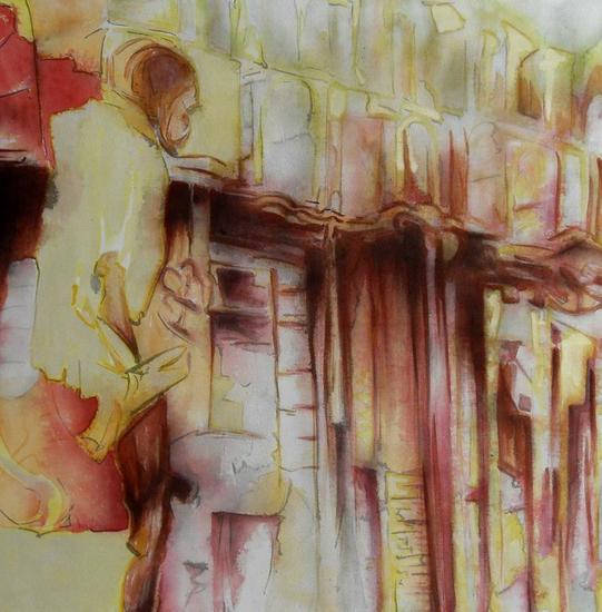 El Chorrillo Figura Tinta Lienzo